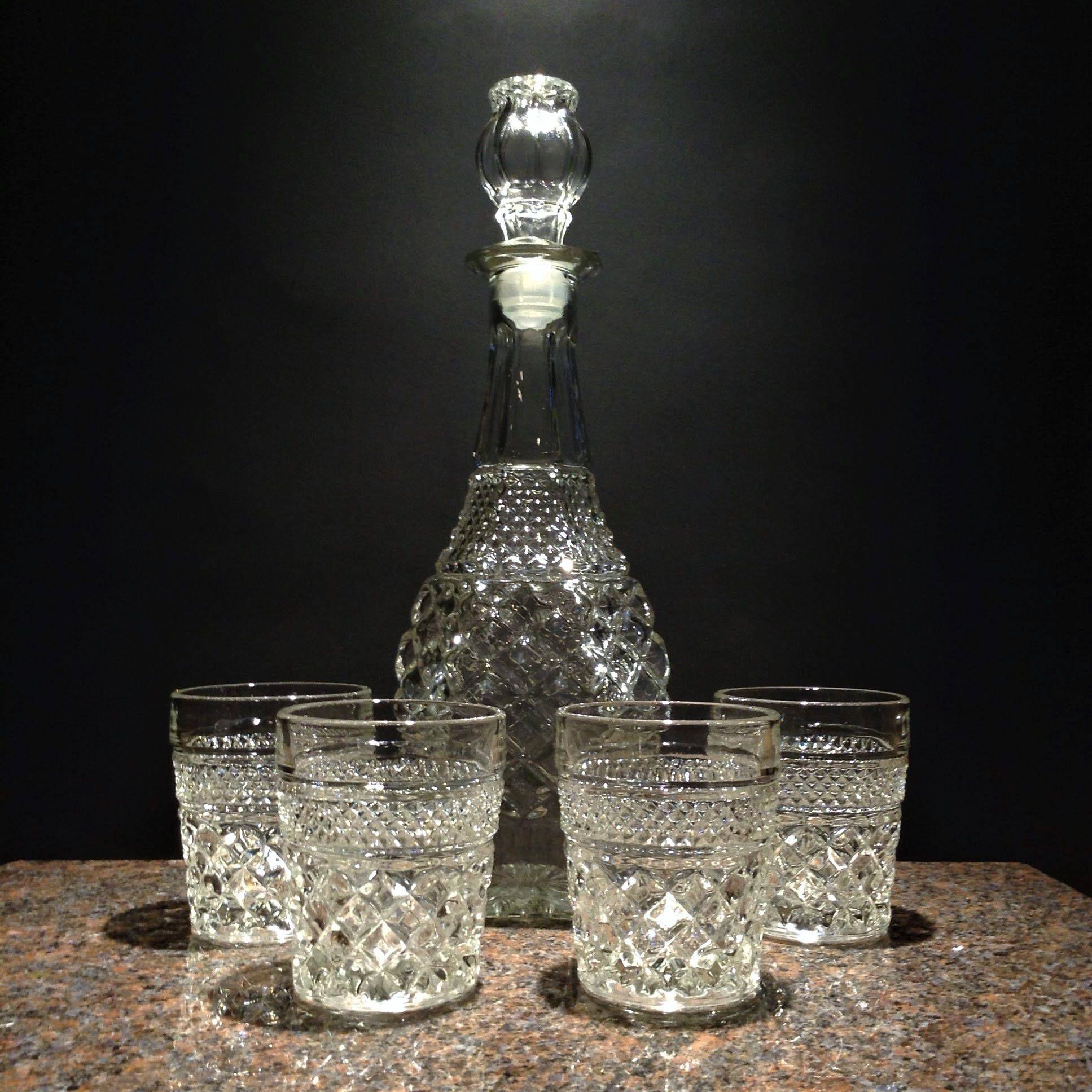 Wexford Rocks Glasses and Decanter Bar Set, 4 Vintage