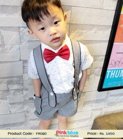 fd8ce78d9 Grey and White Wedding Formal Suit for Infant Boys