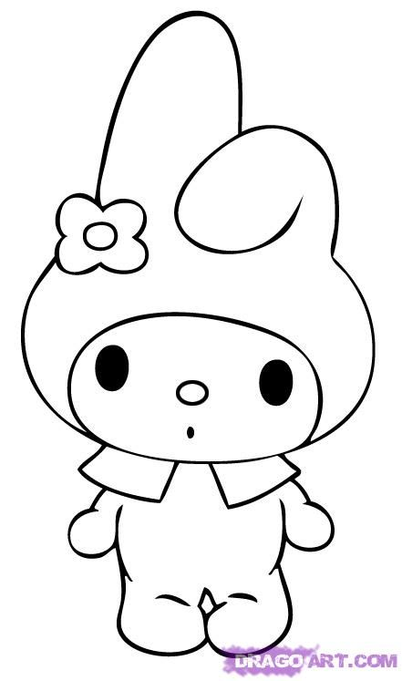 Step 5 How To Draw My Melody Hello Kitty Coloring Kitty Coloring Hello Kitty Colouring Pages
