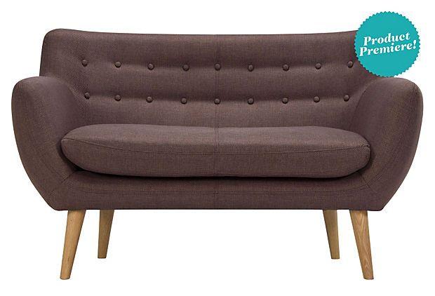 "Alerik Sofa, cinnamon, pine frame, oak legs, poly upholstery, 52""w 31""d 32""h, $799"