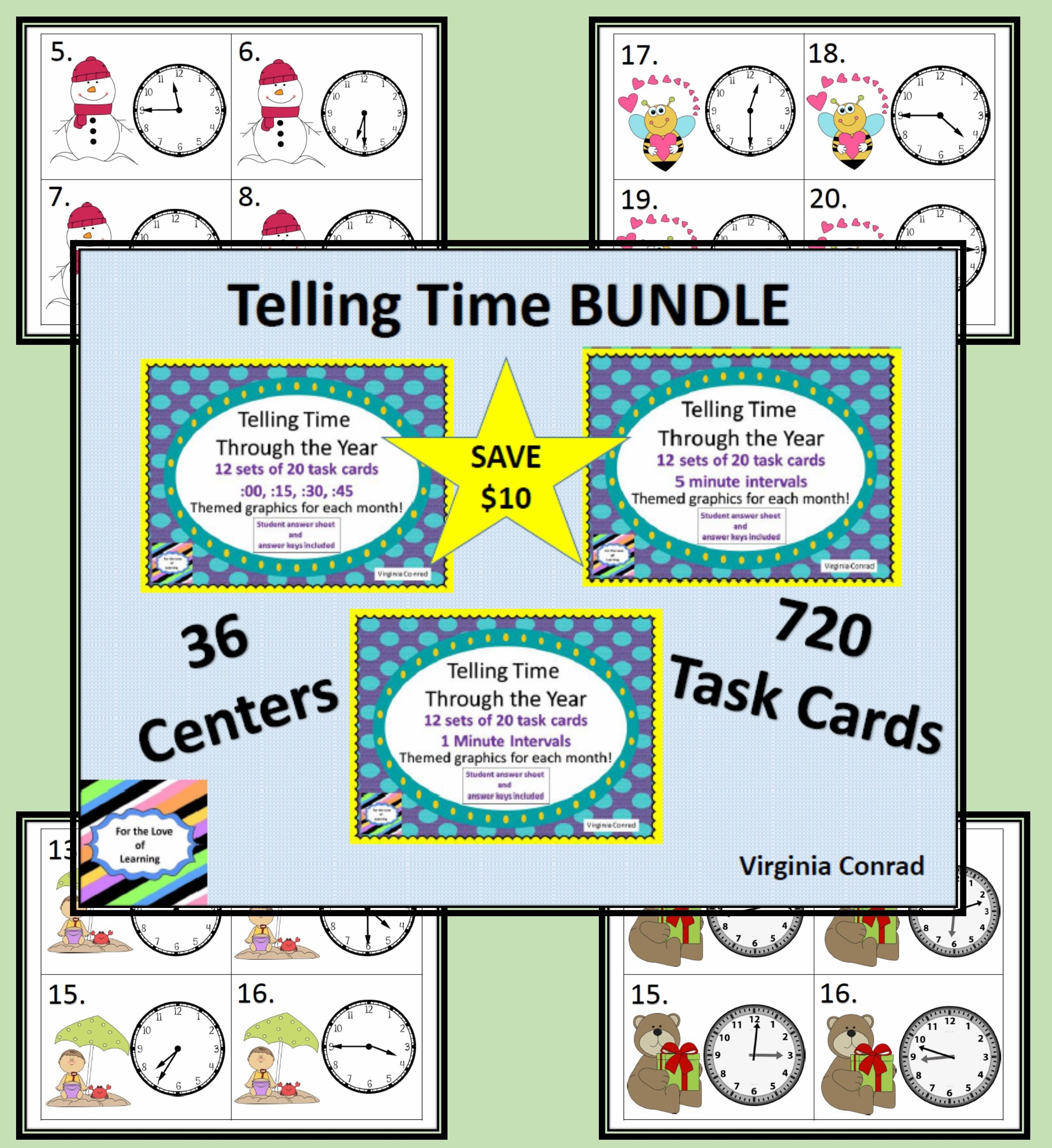Telling Time Bundle 3 Sets Of 240 Task Cards Each