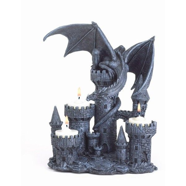 Lovely Gifts Decor Dragon Candleholder Medieval Castle Magic Myth Fantasy ($19) ❤  Liked On Polyvore