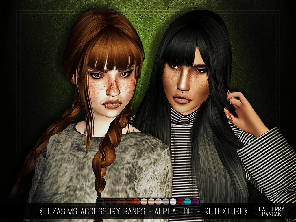 The sims 4 hair accessories - Blahberry Pancake Elzasims Accessory Bangs Alpga Edit Retexture