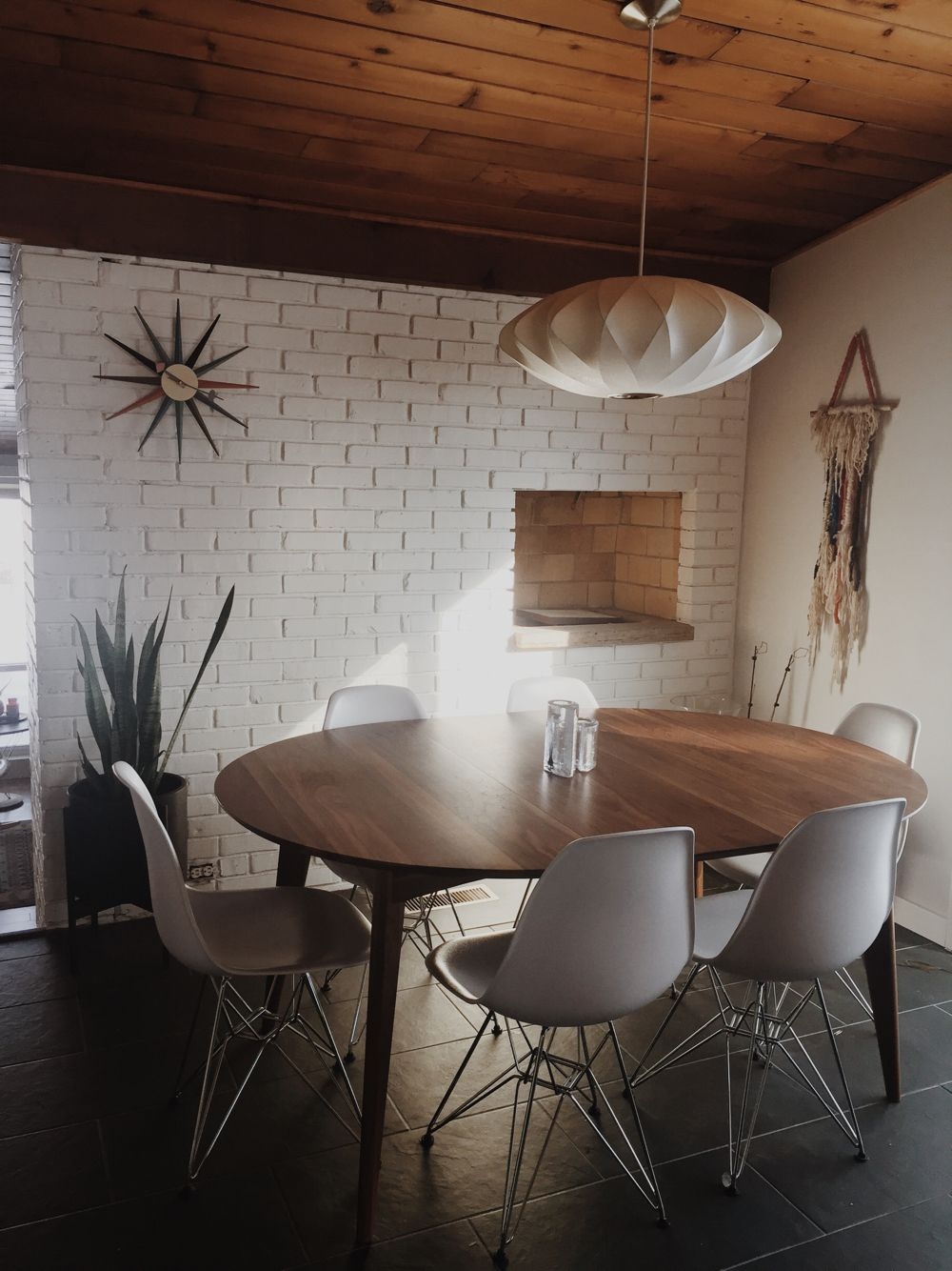 Dining Room. George Nelson Criss Cross Saucer Light Fixture From Modernica. Room  And Board Ventura Dining Table In Walnut. Case Study Ceramic Cylinder ...