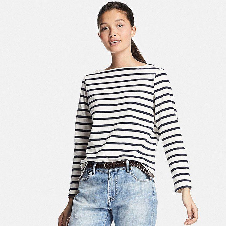 113051ae64 Women striped boat neck long sleeve t-shirt | Wishlists | Shirt ...