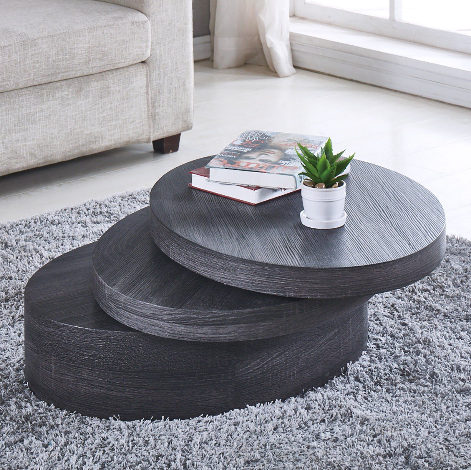 Newretailglobal modern black oak coffee tables round