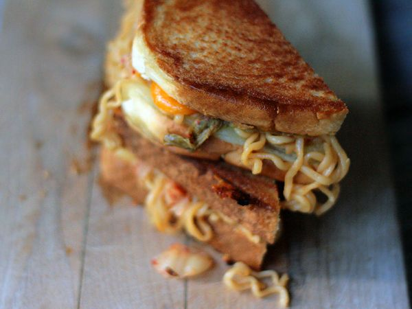 Kimchi Ramen Grilled Cheese Stack