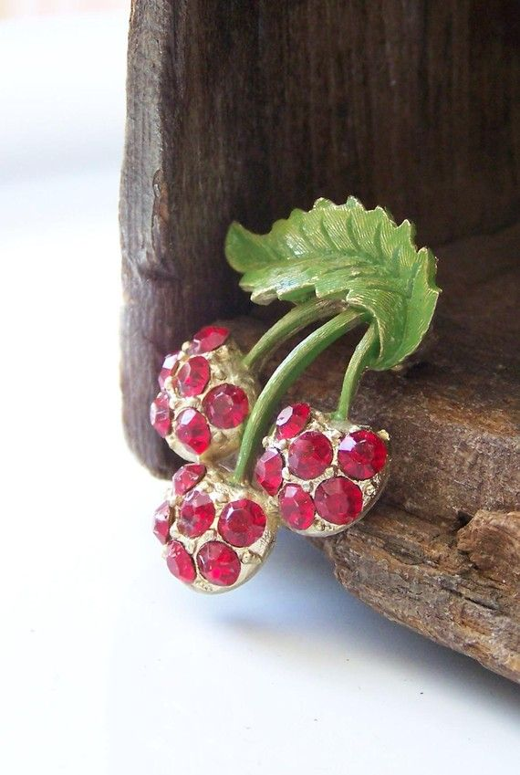 """Vintage Cherry Mamselle Brooch with Red Rhinestones ~ I have a weakness for anything """"cherries""""."""