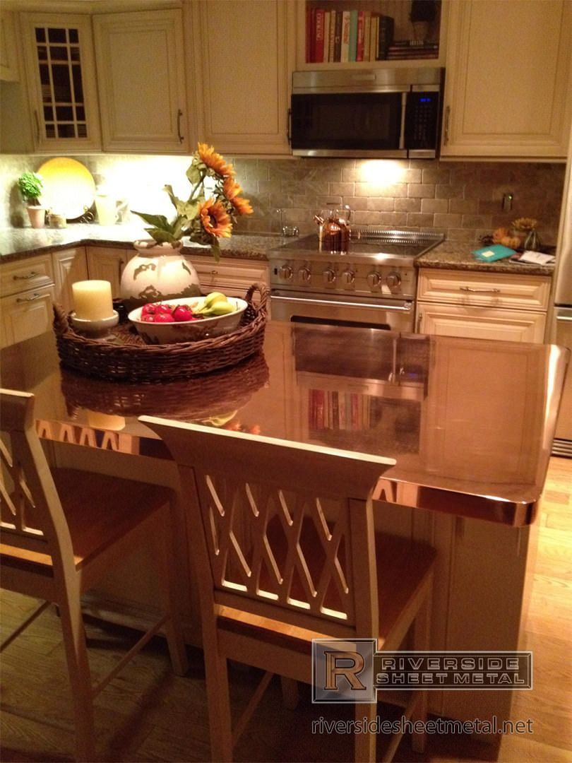 Custom copper counter top with integral sink and patina #countertop Copper counter top 4 sided - Copper Counter Tops #countertop