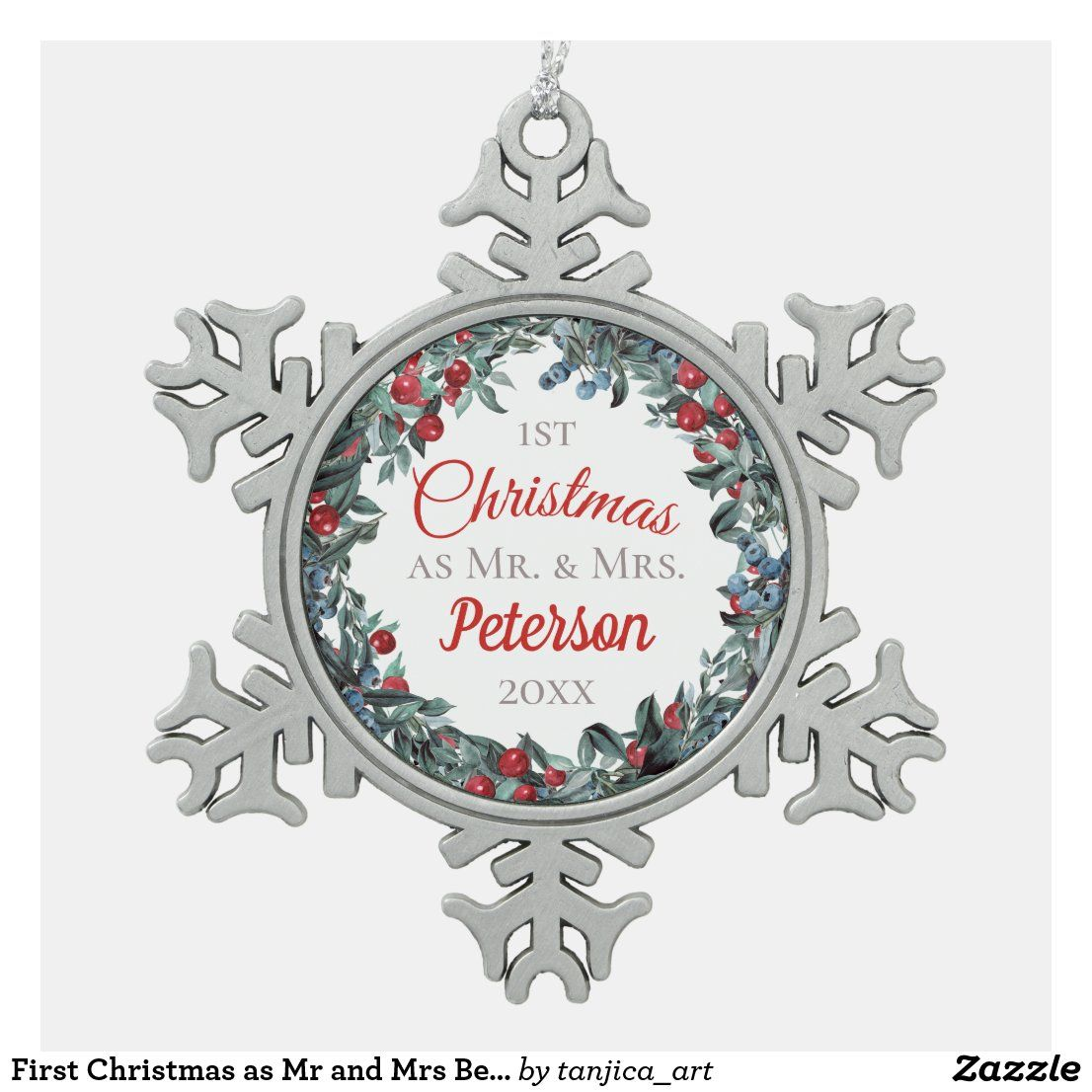 Peterson Christmas Box 2020 First Christmas as Mr and Mrs Berries Wreath Snowflake Pewter
