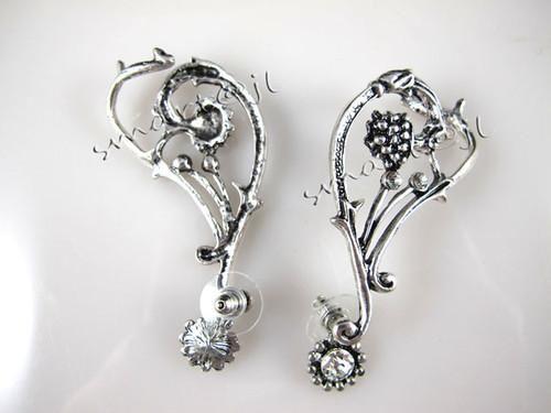 Silver Rhinestone Flower Ear Cuff Stud