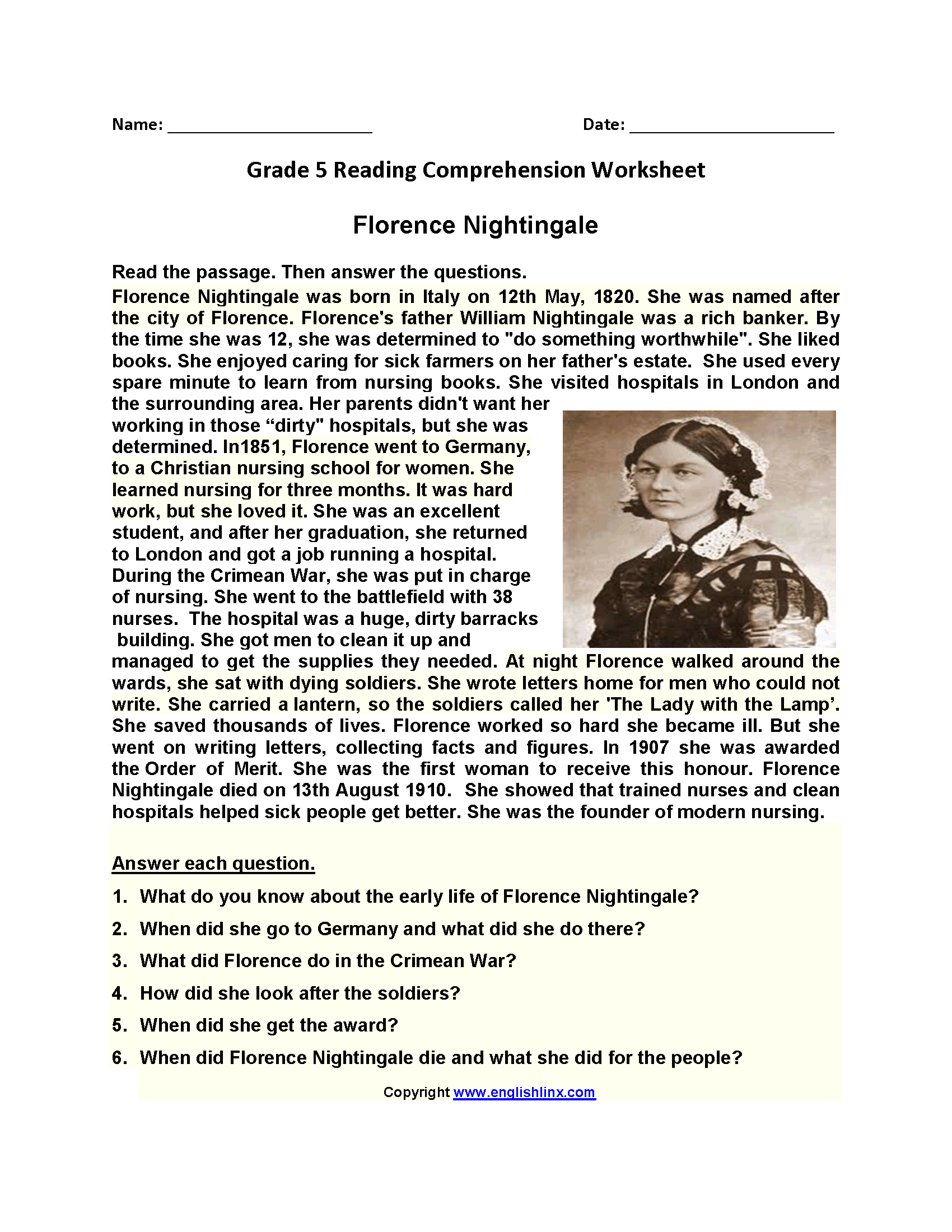 Florence Nightingale Fifth Grade Reading Worksheets