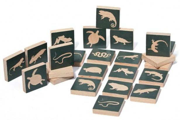 Reptiles  Amphibians wooden memory matching game Wooden toy Educational gift