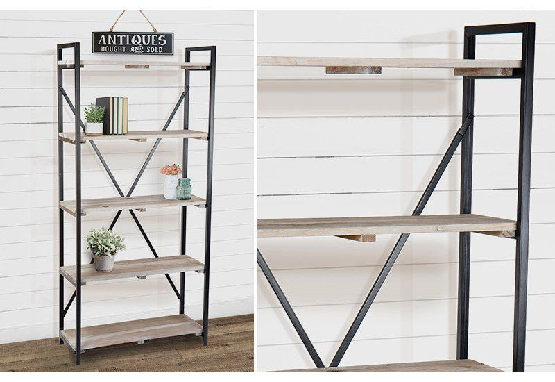 {Huge} 5 Shelf Open X Back Bookcase | Vintage Inspired | Industrial Farmhouse