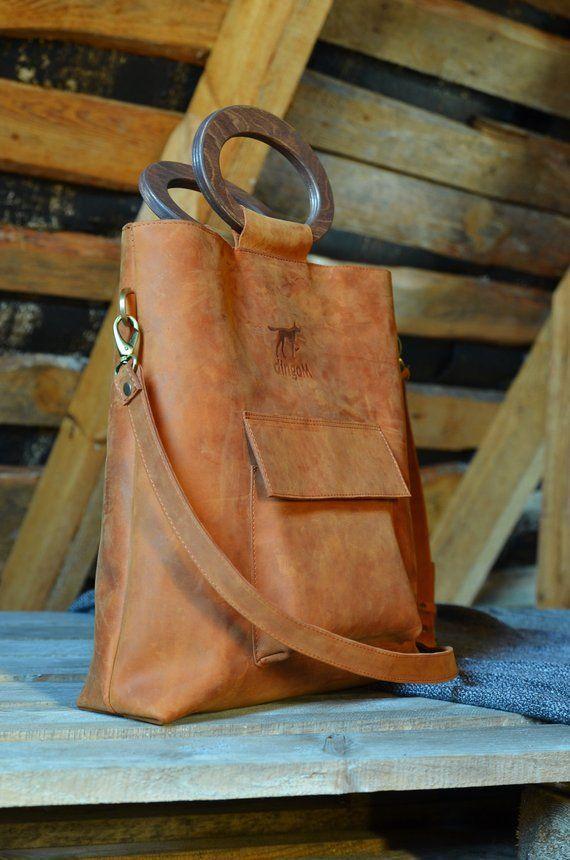 Leather tote bag wooden handles bag crossbody bag leather handbag bag with long handle ginger leather bag wooden purse handles #woodentotebag