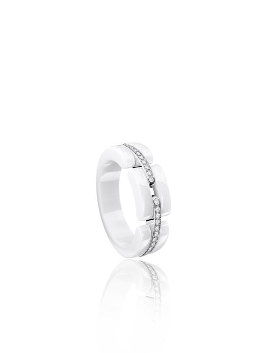 Gojee - Ultra Ring In 18K White Gold, Ceramic And Diamonds by Chanel
