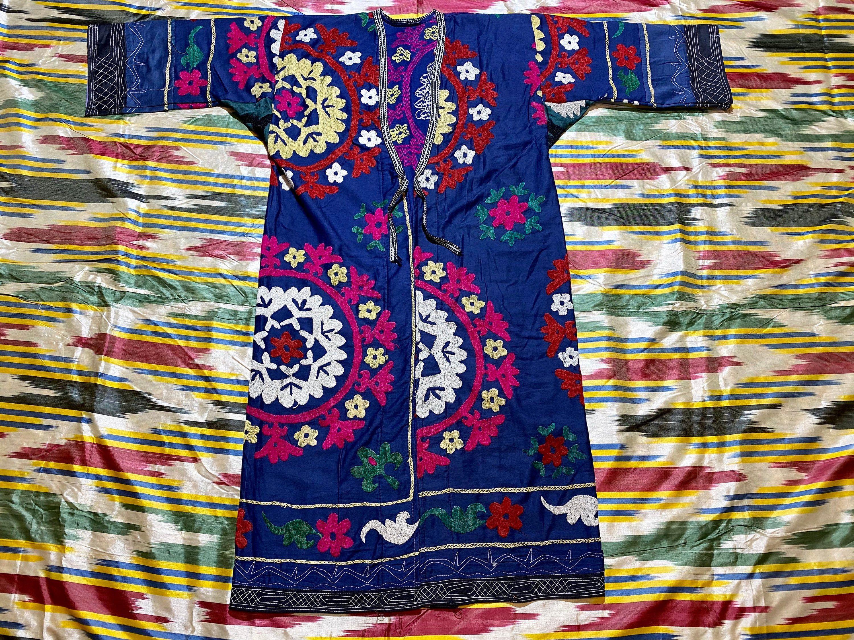 Uzbek Vintage Handmade Embroidery SUZANI Robe Dress chapan jacket caftan SALE!!