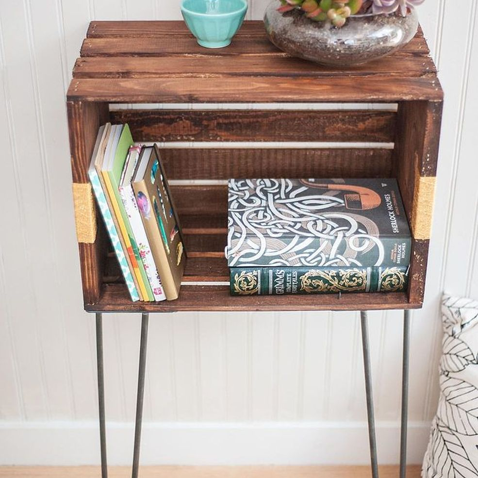Diy crate console table - Diy Wood Crate Console Table And Shelf