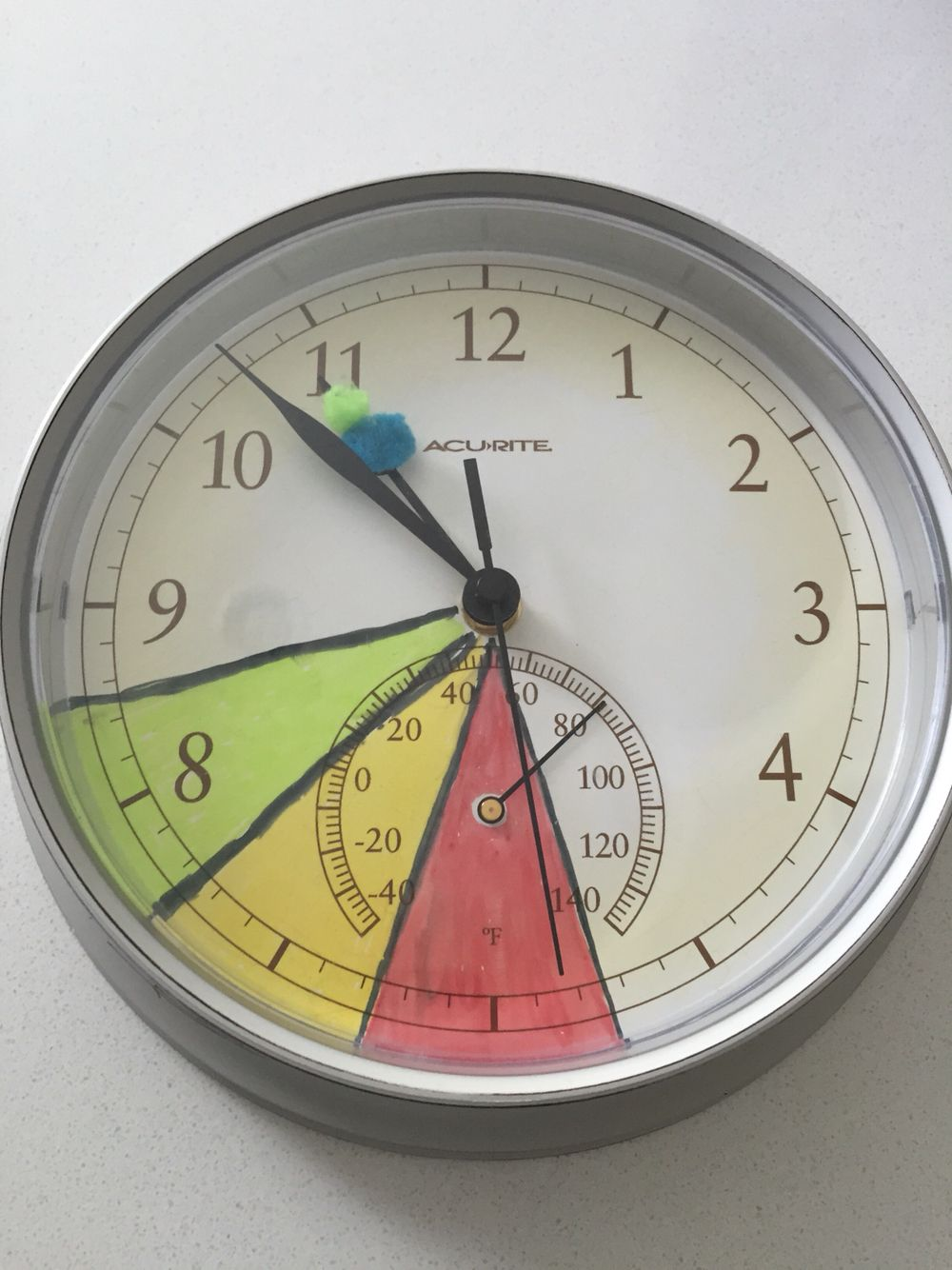 """Homemade """"Okay to wake"""" clock. Red = stay in bed. Yellow"""