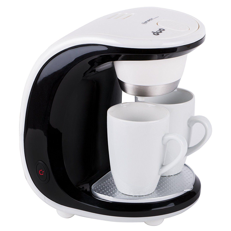 450W Design 2 Tassen Kaffeemaschine mit 2 Porzellantassen