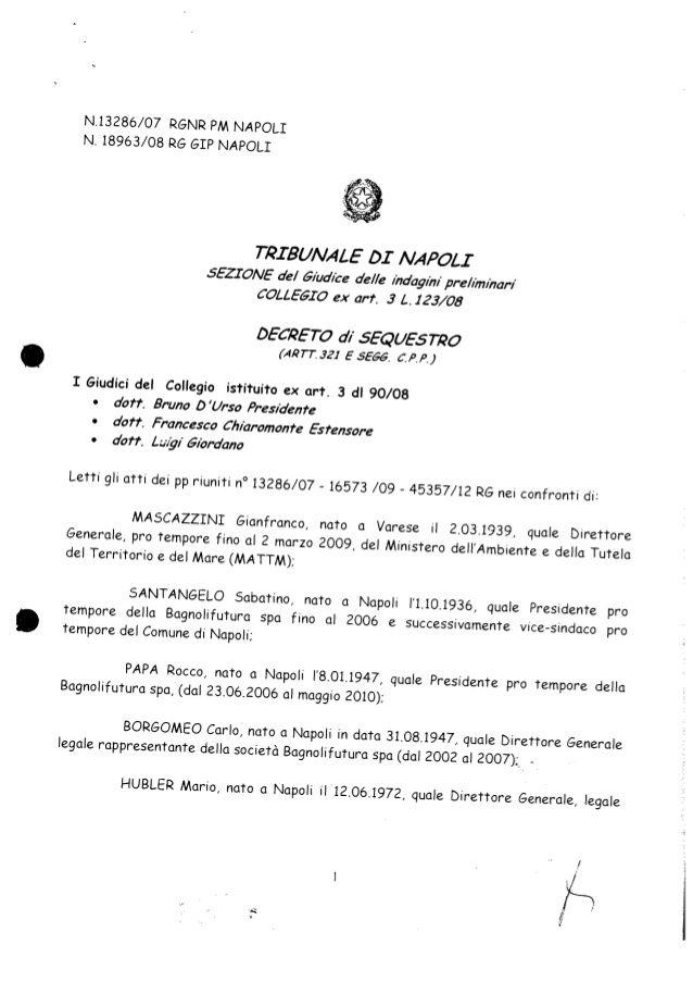 Decreto Sequestro Bagnoli Ex Italsider Ex Eternit Colmata