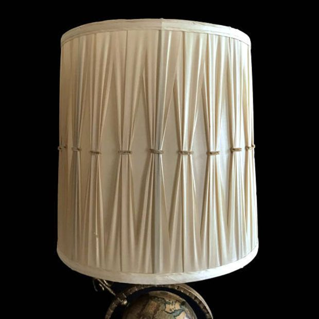 Two Mid Century Lamp Shades Pleated Fabric Large Drum Lampshade Beige Fabric 60s Hollywood Regency Home Decor Drum Lampshade Large Lamp Shade Mid Century Lamp