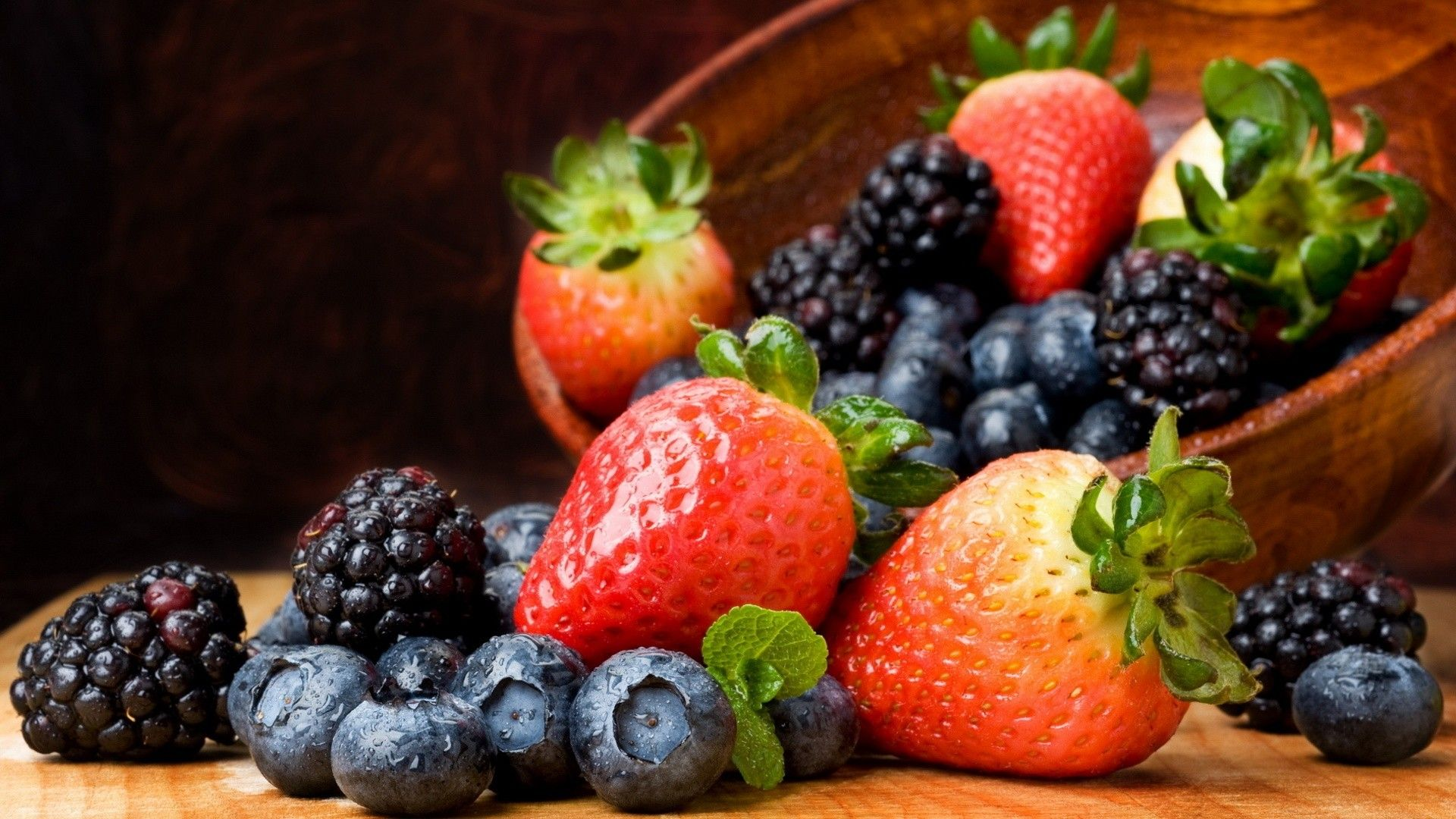 Fruit Blackberry Strawberries Blueberries Hd Wallpaper