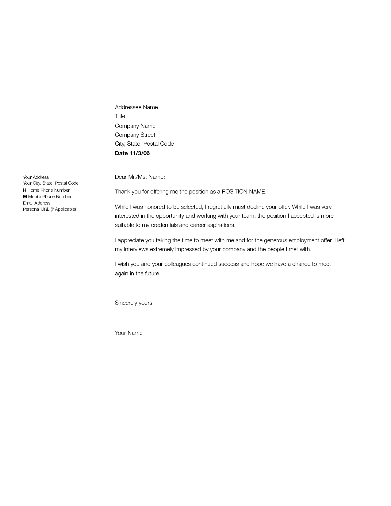 letter of rejecting a job offer