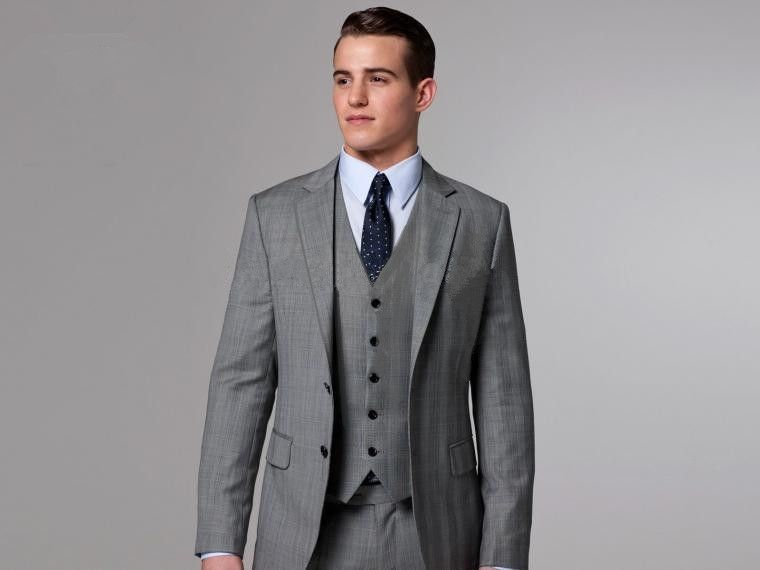 New formal Gray Men Suits Notched Lapel Formal Groomsmen Best Man ...