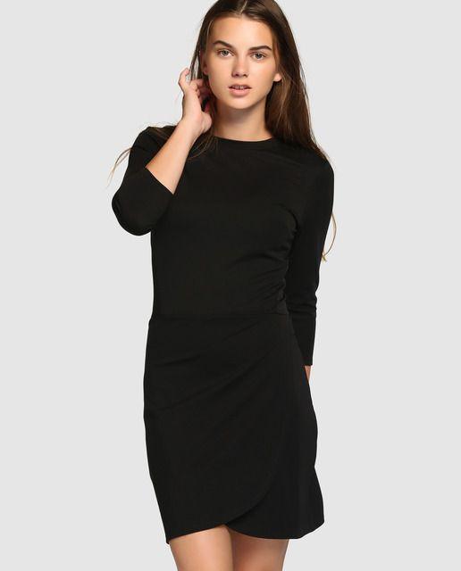 Vestido de mujer Easy Wear negro de punto roma