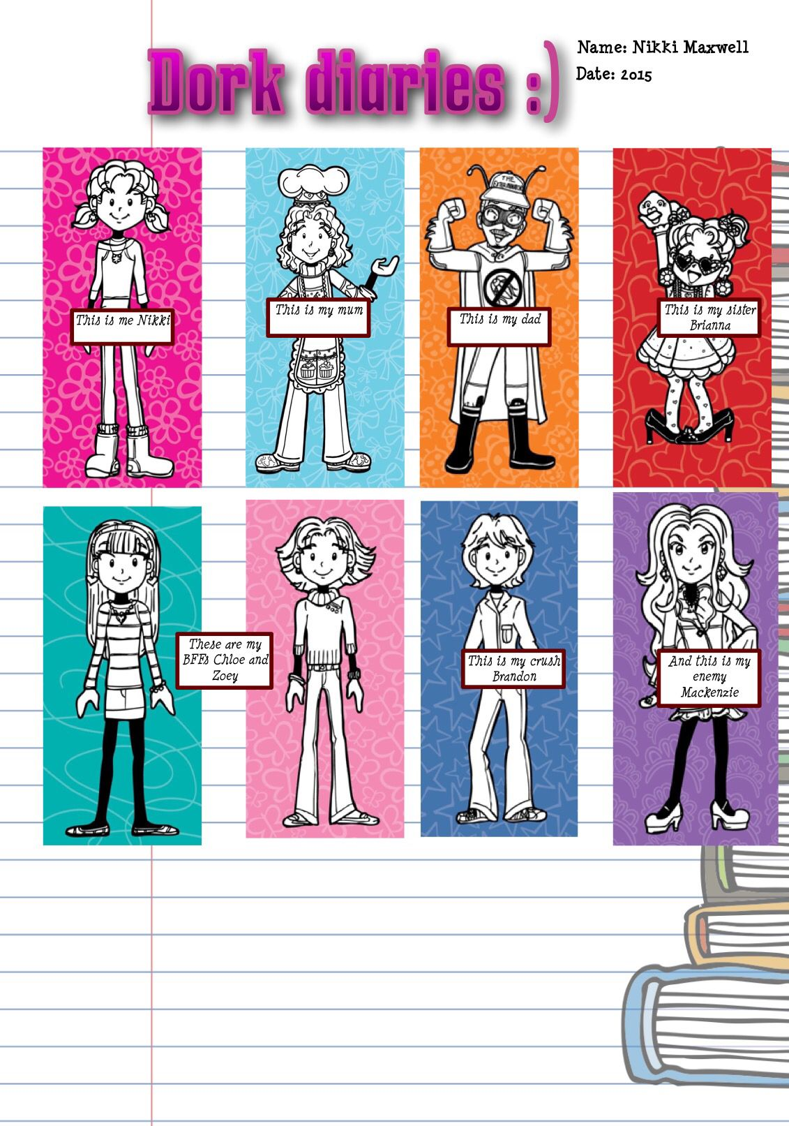 Dork diaries characters my fav are nikki she is so lovable for The book of life characters names