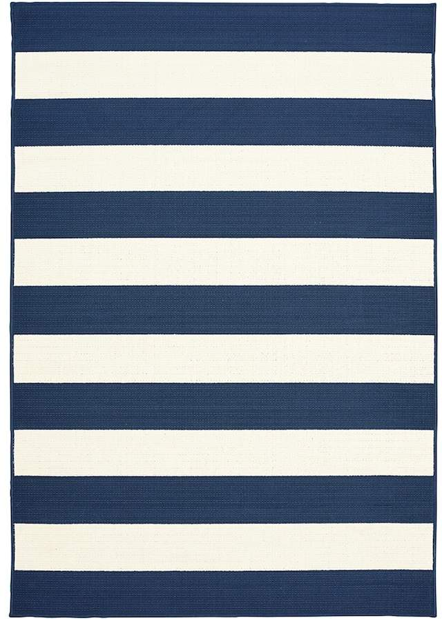 Blue Area Natco Tributary Awning Stripe Indoor Outdoor Rug