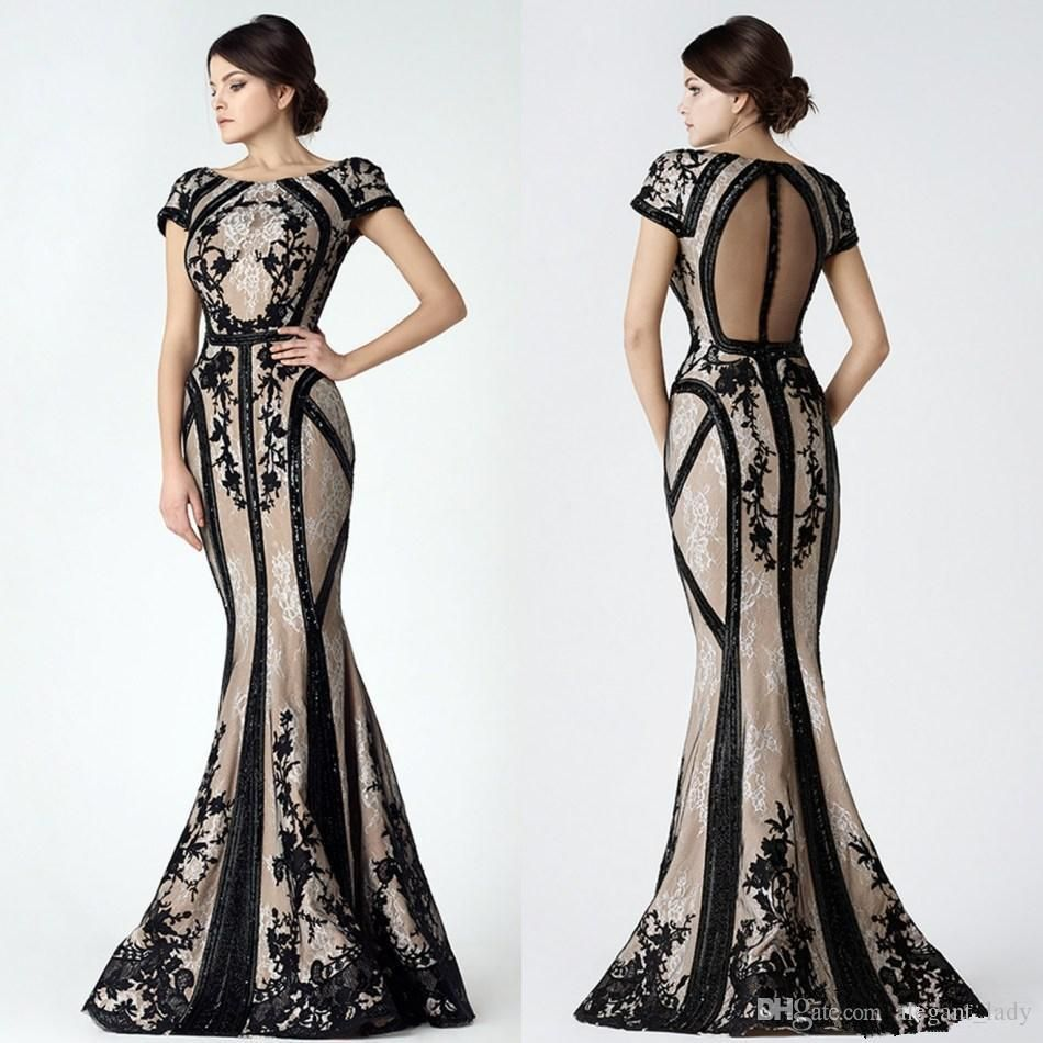 Saiid Kobeisy Vintage Black Champagne Mermaid Prom Dresses With Sleeves  2018 Modest Sheer Back Lace Applique Dubai Arabic Evening Gown Quiz Prom  Dresses Red ... 743fef9c22c5