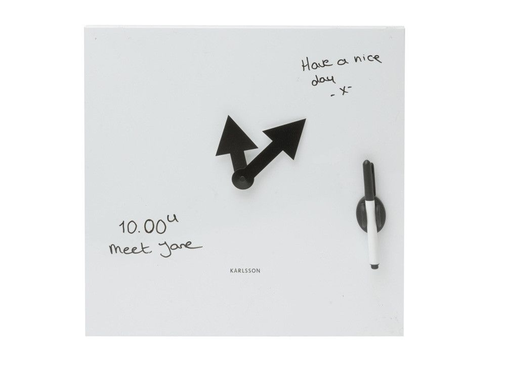 Memo Able White Dry Erase Message Board Wall Clock Clock Magnetic White Board Wall