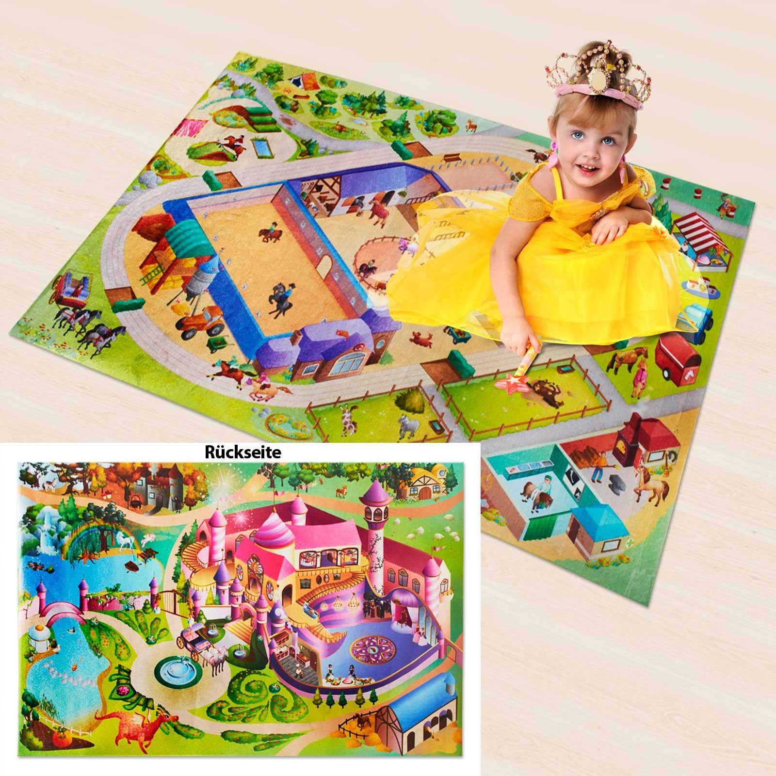 Fresh Kinder Spielteppich beidseitig Schloss Prinzessin Reiterhof Dayton de