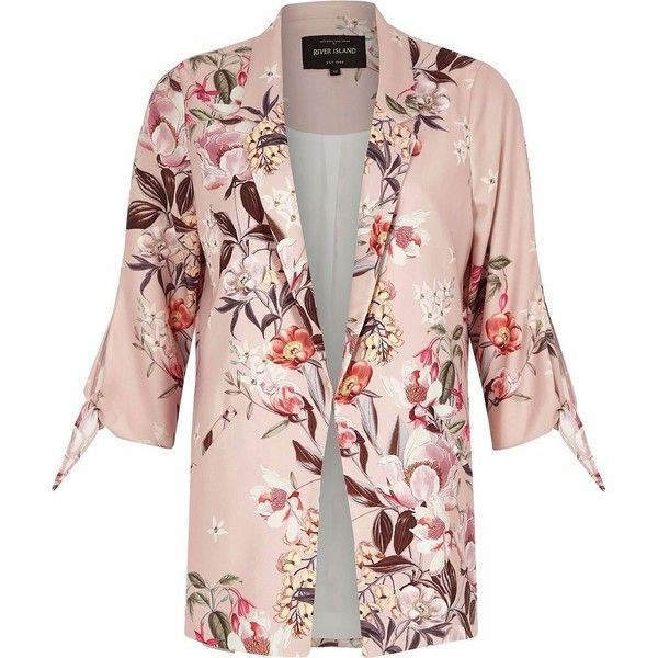 River Island Pink floral tie cuff blazer (235 BRL) ❤ liked on Polyvore featuring outerwear, jackets, blazers, coats, blazer, cuffed blazer, floral blazers, open front jacket, three quarter sleeve blazer and pink floral blazer