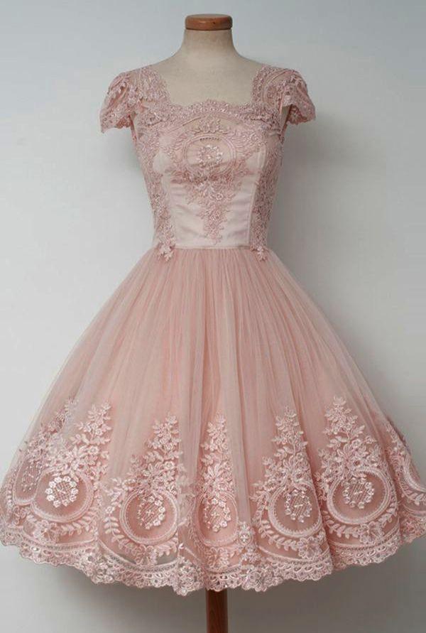 1950s Vintage Wedding Dresses For Sale 50s Dior Dress Pink Homecoming Dress Lace Homecoming Dresses Homecoming Dresses Short