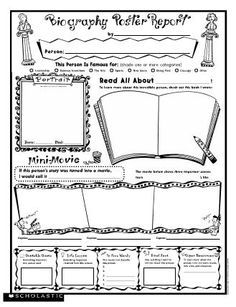 Biography Poster Report Free Printable From Scholastic  Fichas De