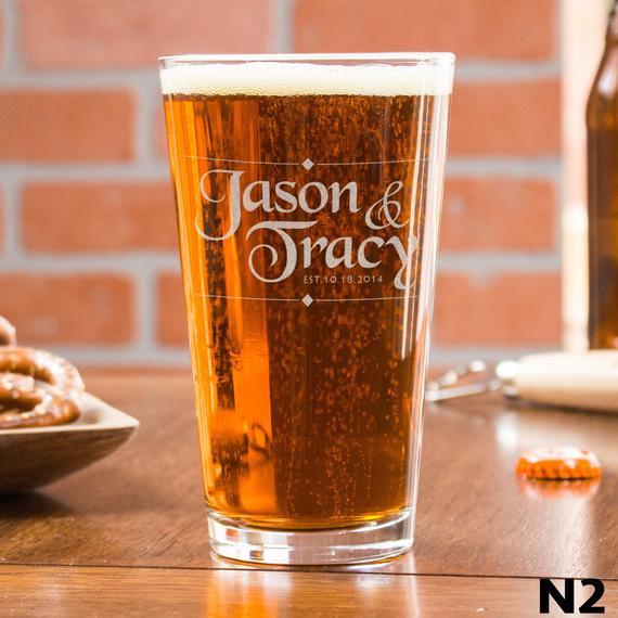 Custom Initial Glass Monogrammed Beer Glass Custom Pint Glass