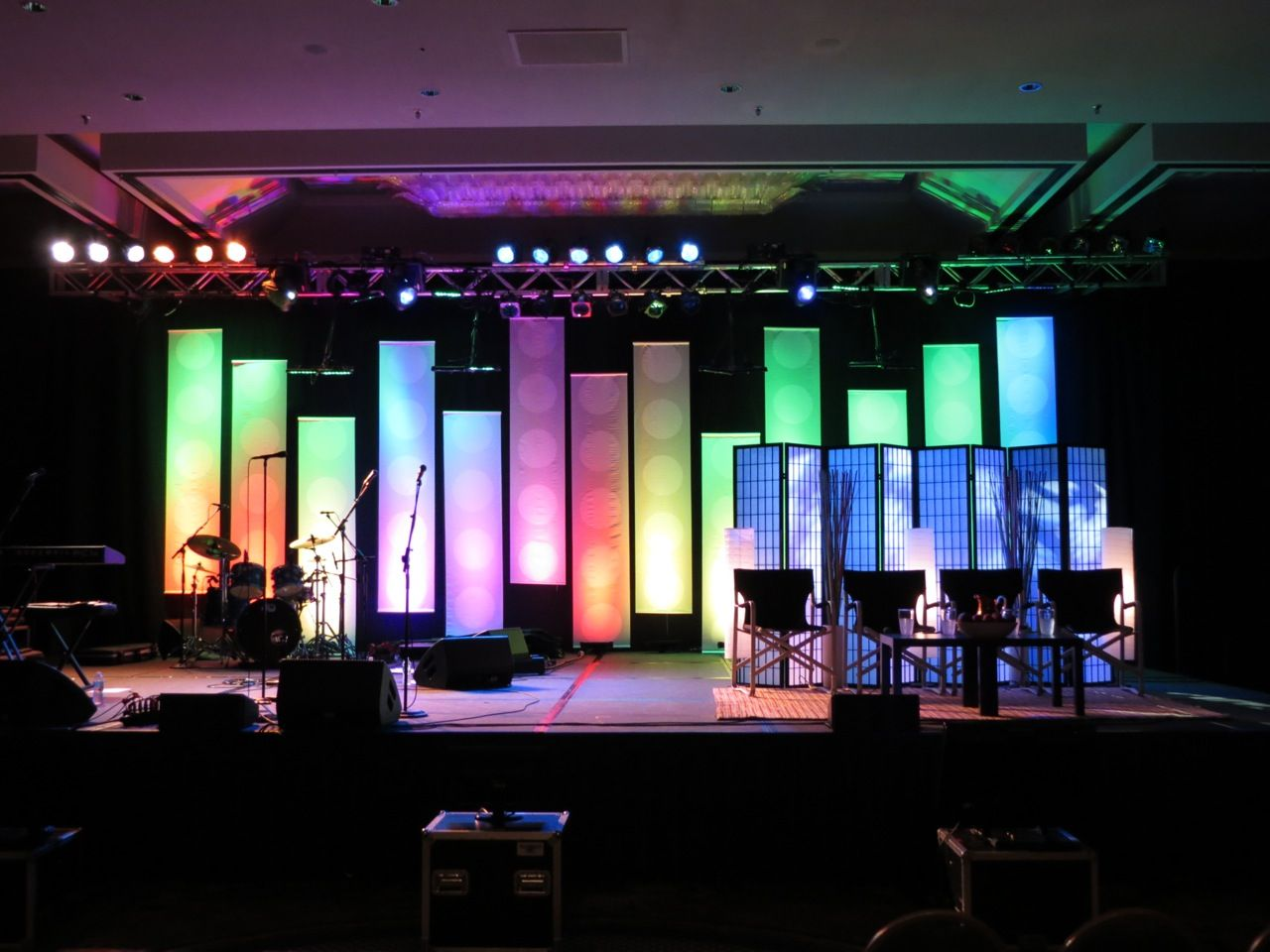Dot Banners Church Stage Design Church Stage Stage Design
