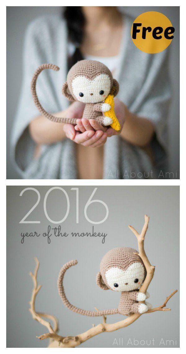 Free Monkey Amigurumi Crochet Patterns #amigurumifreepattern