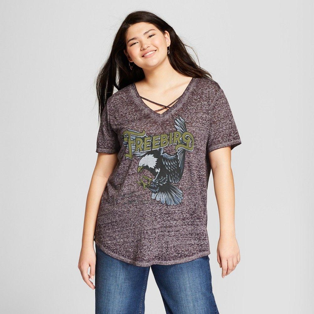 05107880d34 Women s Plus Size Free Bird Short Sleeve Criss Cross V-Neck Graphic T-Shirt  - Lyric Culture (Juniors ) Charcoal Gray 2X