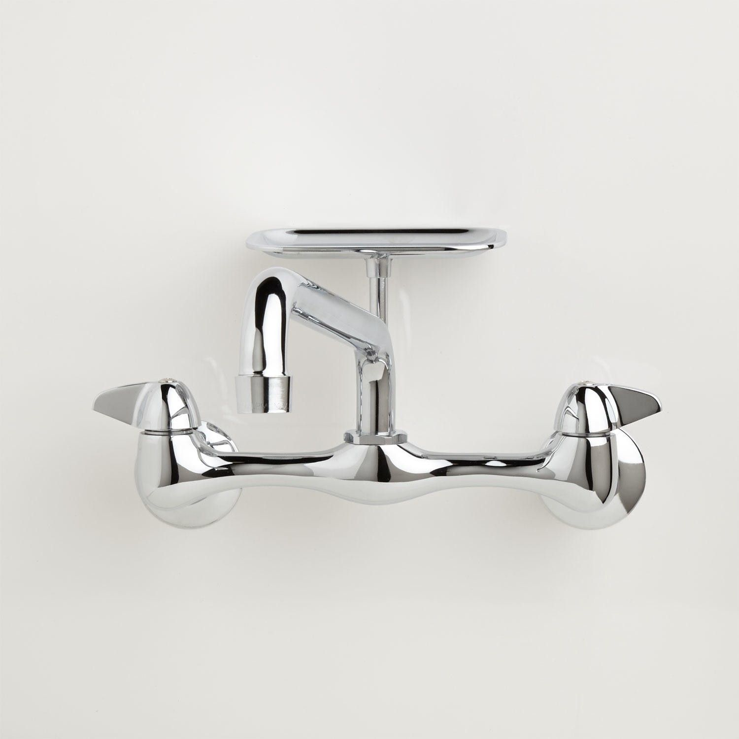 Wall Mount Sink Faucet With Soap Tray Chrome Adjustable
