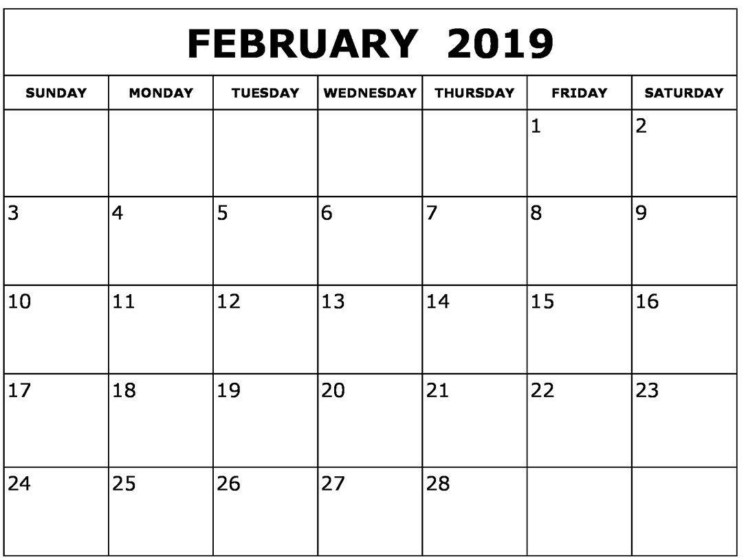 Blank February 2019 Calendar Printable February February2019