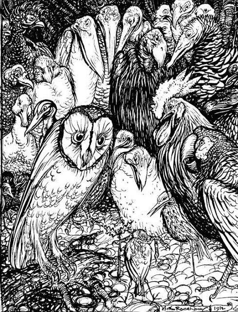 Arthur Rackham The Owl and the Birds Aesop's Fables 1912.