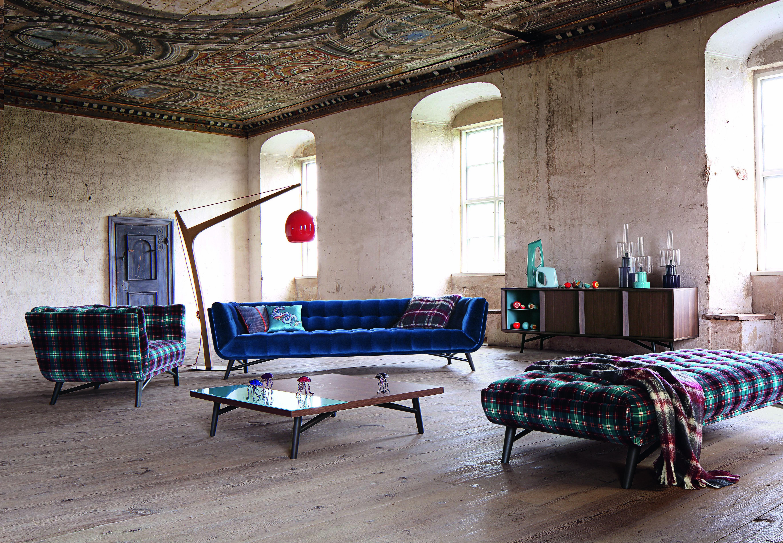 Roche Bobois Profile Sofa Upholstered In Cabaret Velvet And Jean