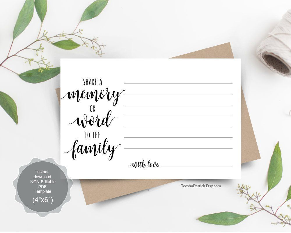 Share A Memory Card Instant Download Printable Pdf Template Word To The Family Memorial Funera Memorial Cards For Funeral Memory Cards Memory Table Wedding