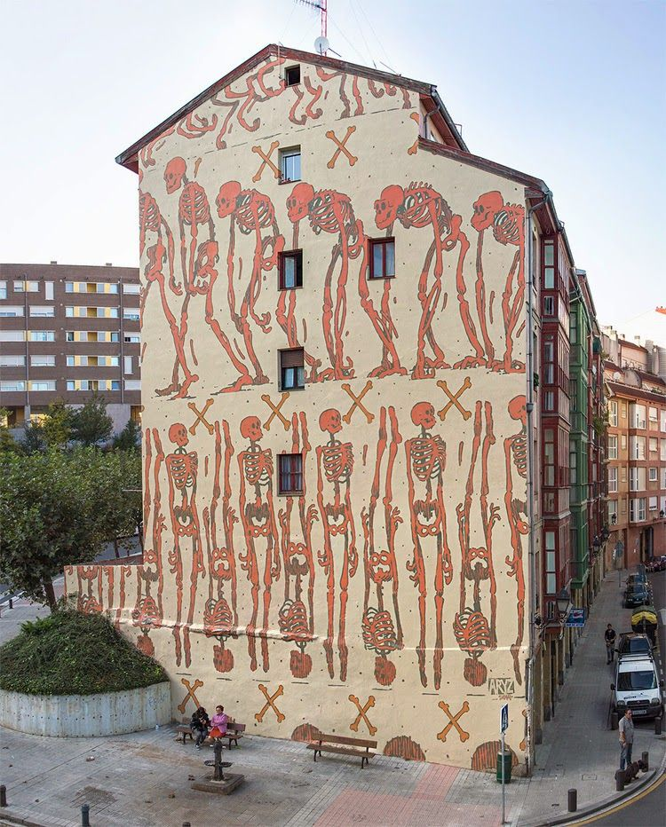 ARYZ / While we last heard from him a few days ago in Morocco, Aryz is now back in Spain where he just finished working on this new mural somewhere on the streets of Bilbao.