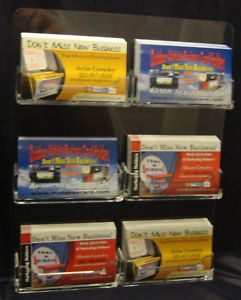 Acrylic 6 pocket wall mount business card holder rack hanging usa 6 pocket wall mount business card holder rack hanging ebay colourmoves