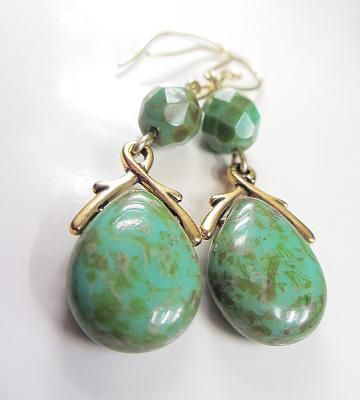 Czech Blue Green Glass Turquoise Picasso Earrings Antique Gold Green Earrings Blue Earrings Czech Glass Drops Turquoise Dangle Earrings